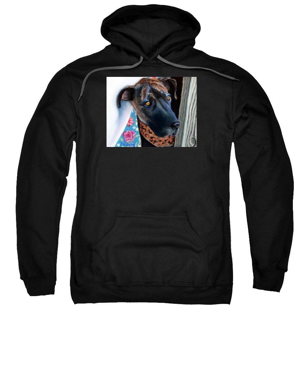 Great Dane Sweatshirt featuring the painting Whats Going On? by Minaz Jantz
