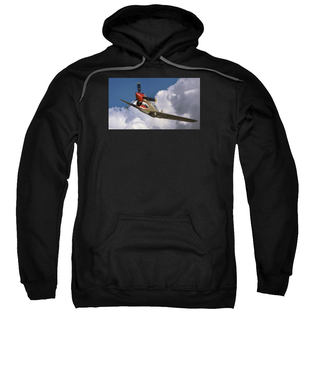 Flying Tigers Sweatshirt featuring the photograph Curtiss P-40n Warhawk by Larry McManus
