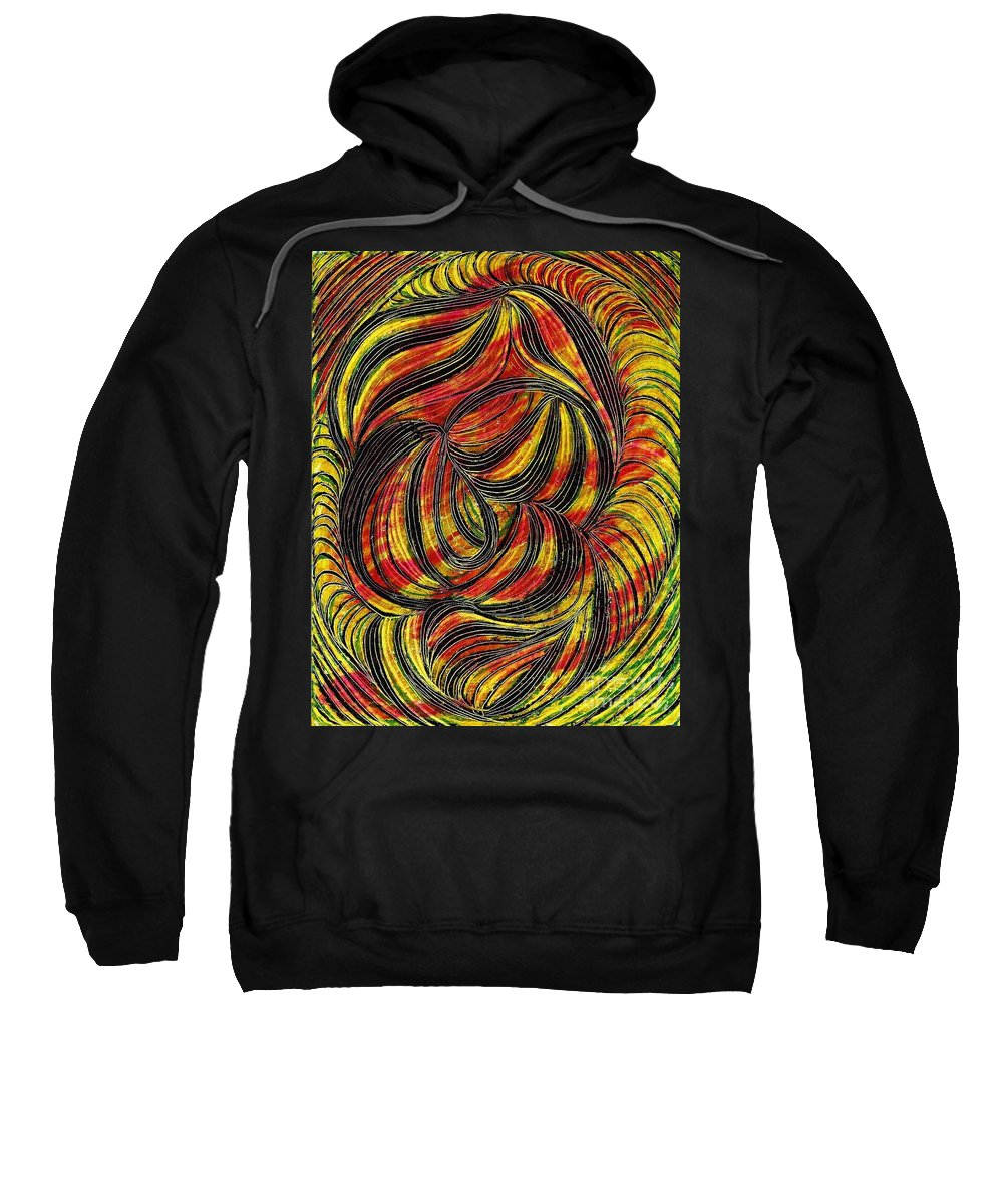 Curve Sweatshirt featuring the drawing Curved Lines 2 by Sarah Loft