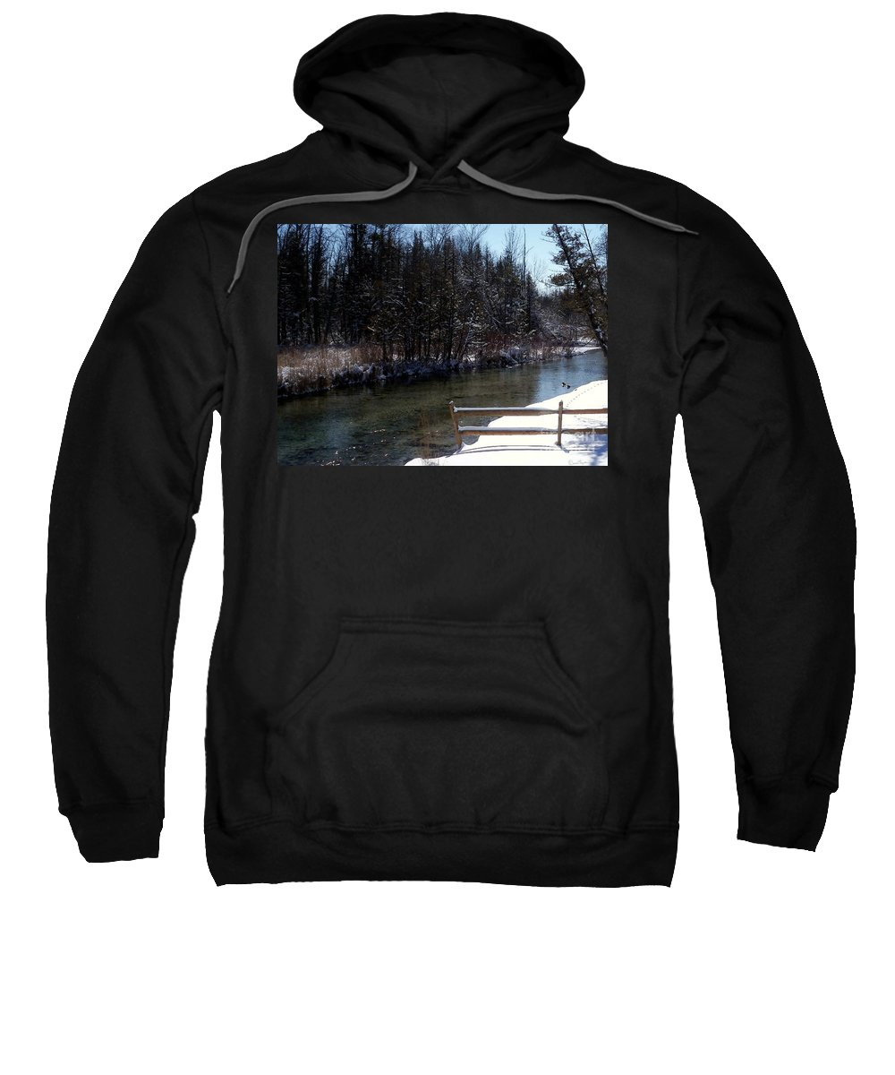 Cut River Sweatshirt featuring the photograph Cut River In Winter With Ducks by Desiree Paquette