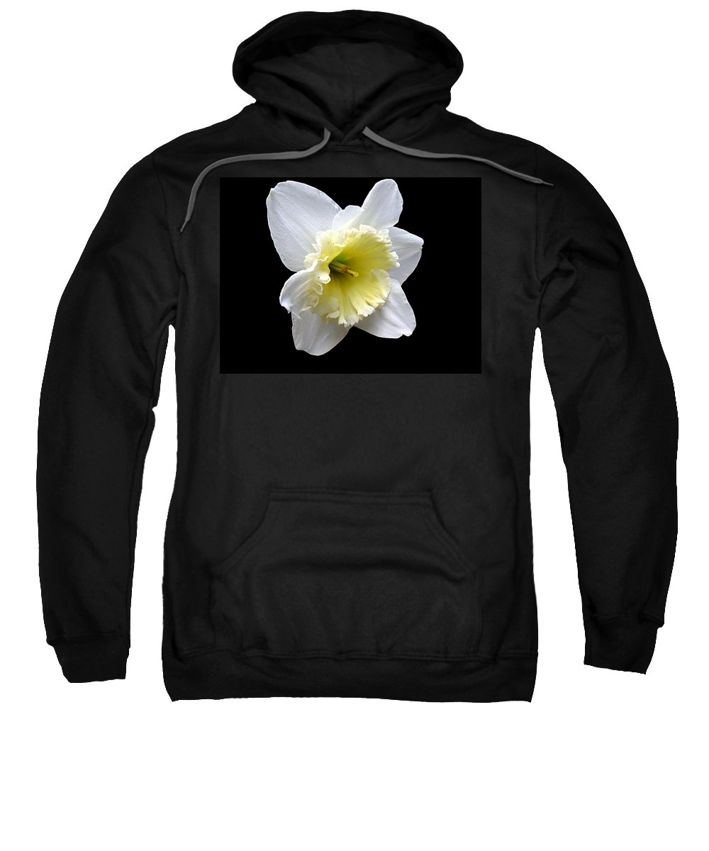 Daffodil Sweatshirt featuring the photograph Daffodil On Black by J M Farris Photography