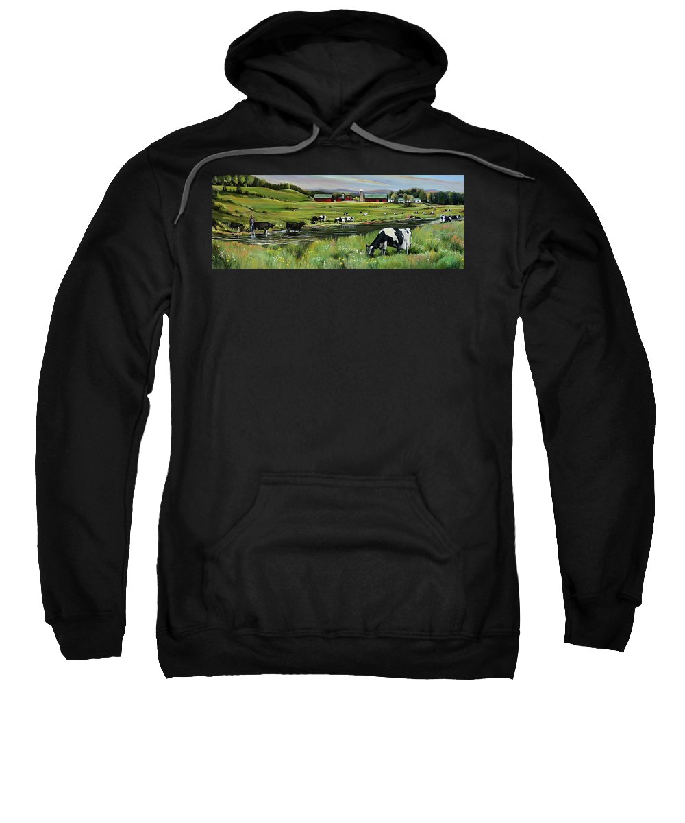 Landscape Sweatshirt featuring the painting Dairy Farm Dream by Nancy Griswold