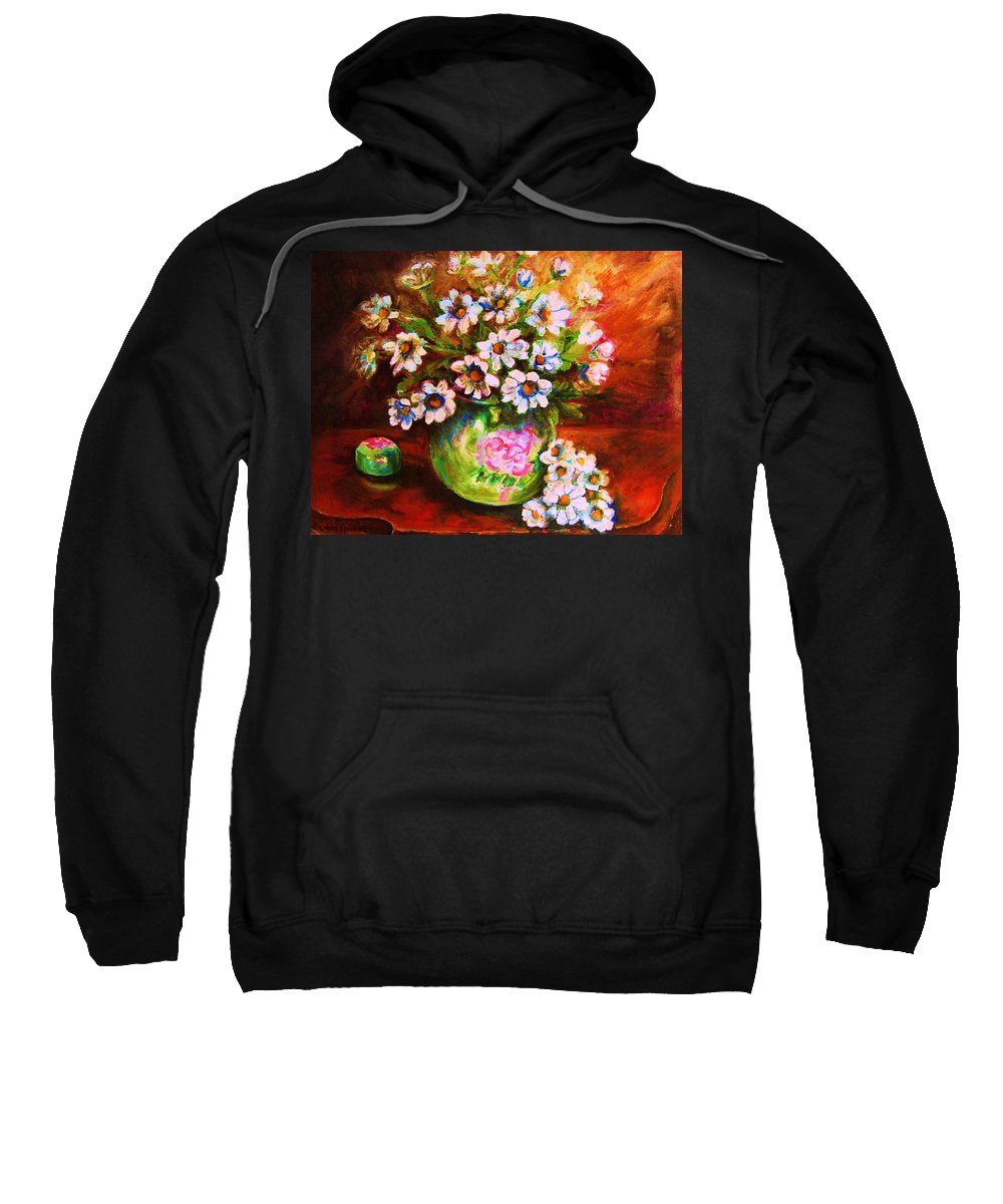 Daisies Sweatshirt featuring the painting Daisies And Ginger Jar by Carole Spandau