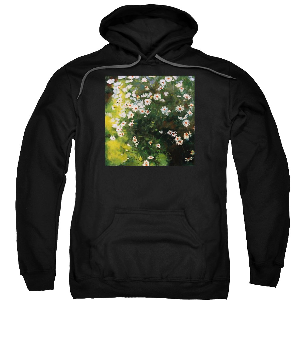 Daisies Sweatshirt featuring the painting Daisies by Iliyan Bozhanov