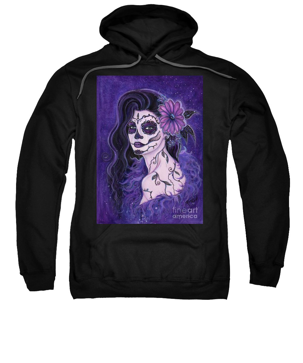 Day Of The Dead Sweatshirt featuring the painting Daisy Day Of The Dead by Renee Lavoie