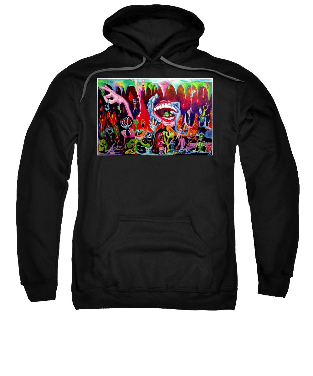 Hell Sweatshirt featuring the painting Damnation Of The Evil by Nancy Mueller