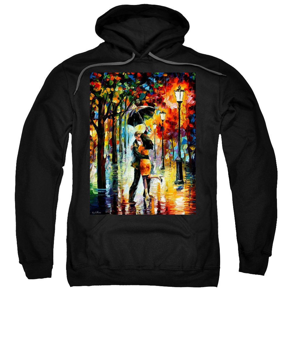 Afremov Sweatshirt featuring the painting Dance Under The Rain by Leonid Afremov