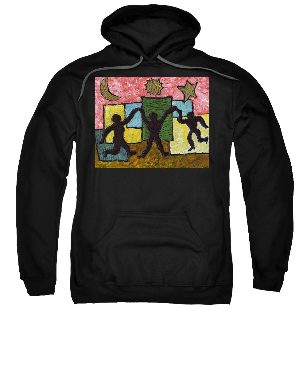 Dancing Sweatshirt featuring the painting Dancing With The Stars...and The Sun And The Moon by Wayne Potrafka