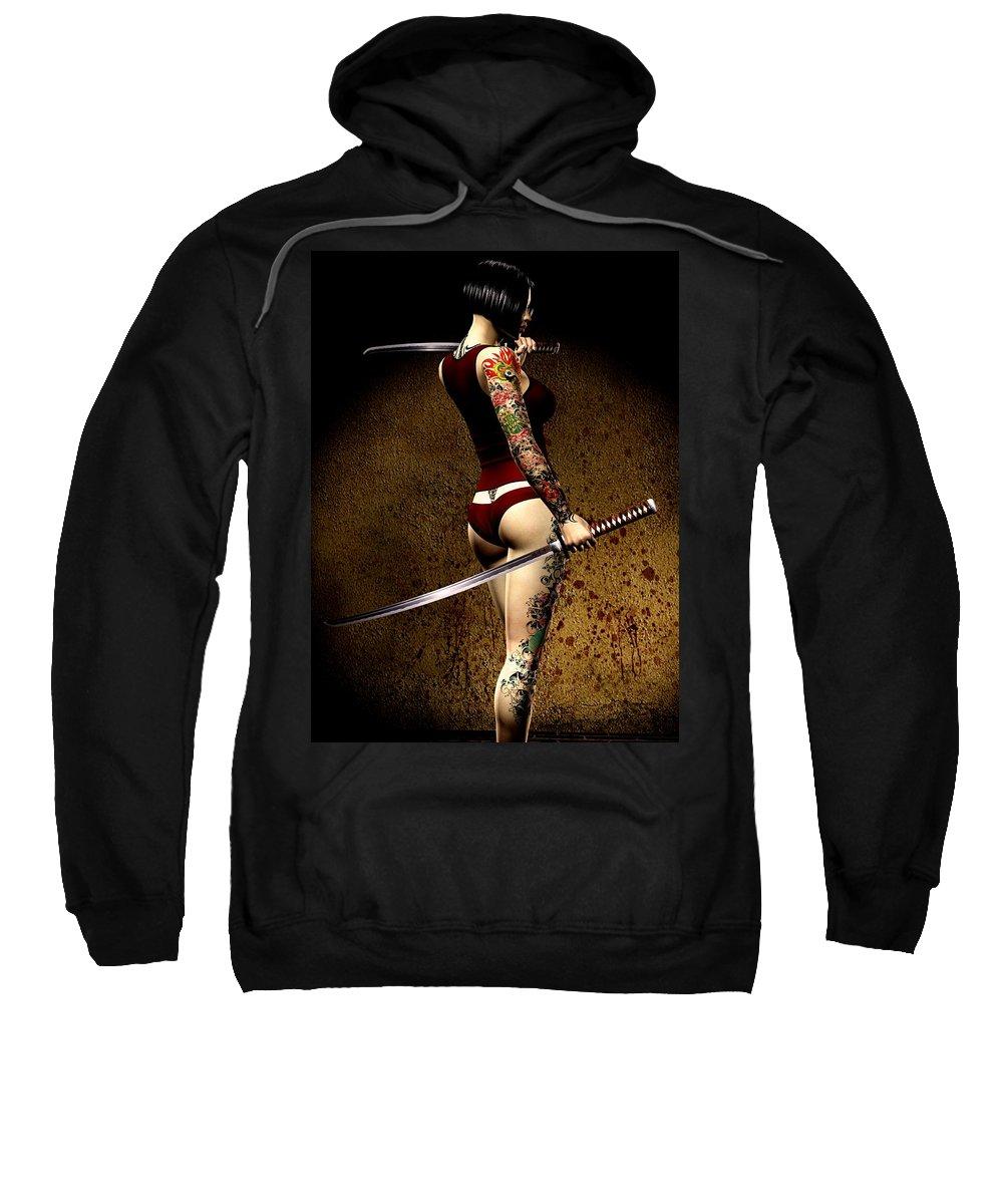 3d Sweatshirt featuring the digital art Dangerously Sharp by Alexander Butler