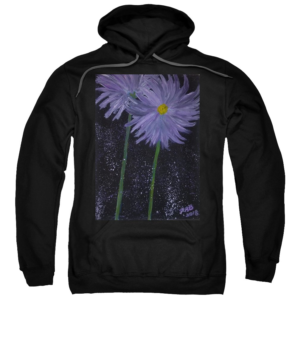 Watercolor Sweatshirt featuring the painting Dark Floral by Pamula Reeves-Barker