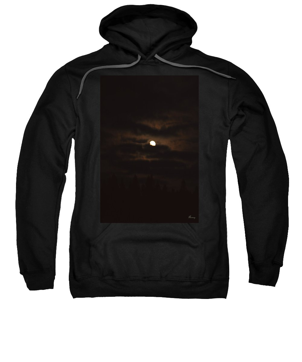Moon Clouds Night Evening Light Cloudy Sky Trees Moonlight Moonlit Sweatshirt featuring the photograph Dark Night by Andrea Lawrence