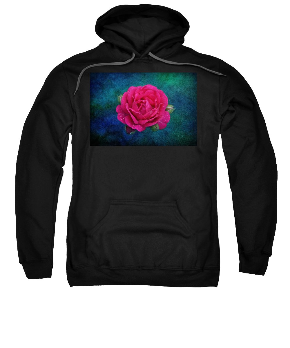 Floral Sweatshirt featuring the photograph Dark Pink Rose by Sandy Keeton