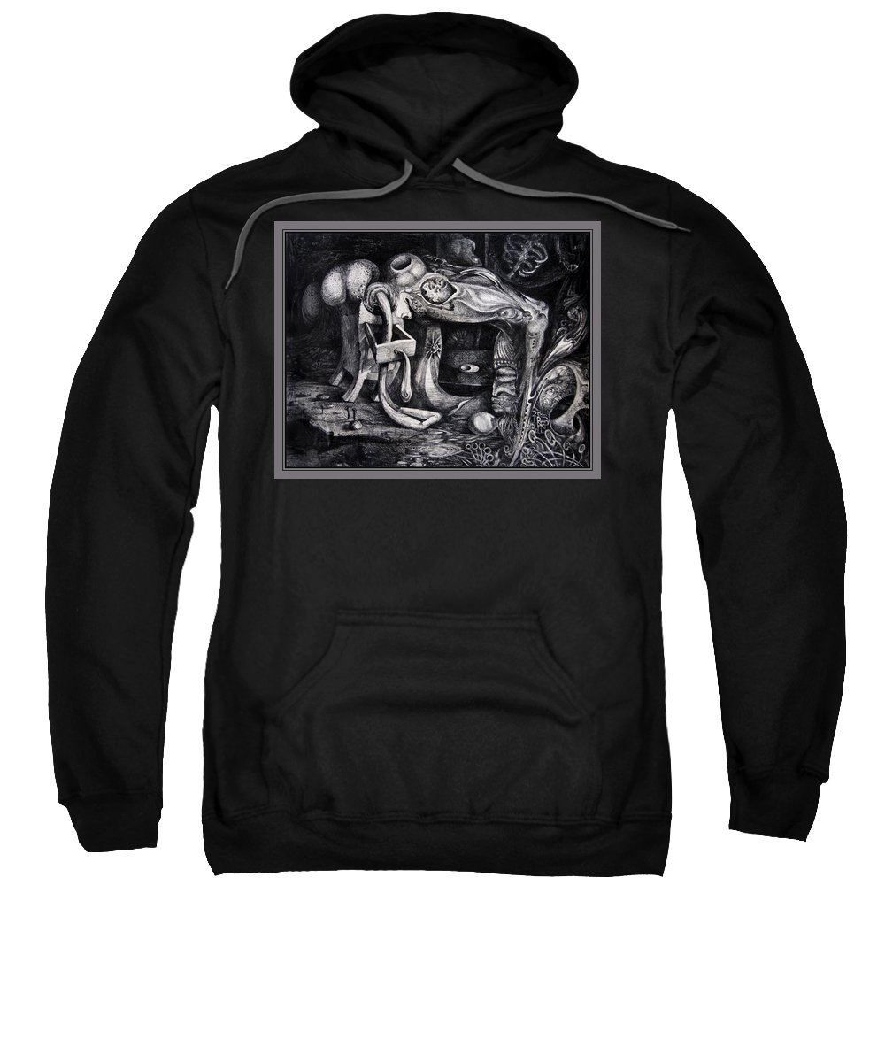 Drawing Sweatshirt featuring the drawing Dark Surprise by Otto Rapp
