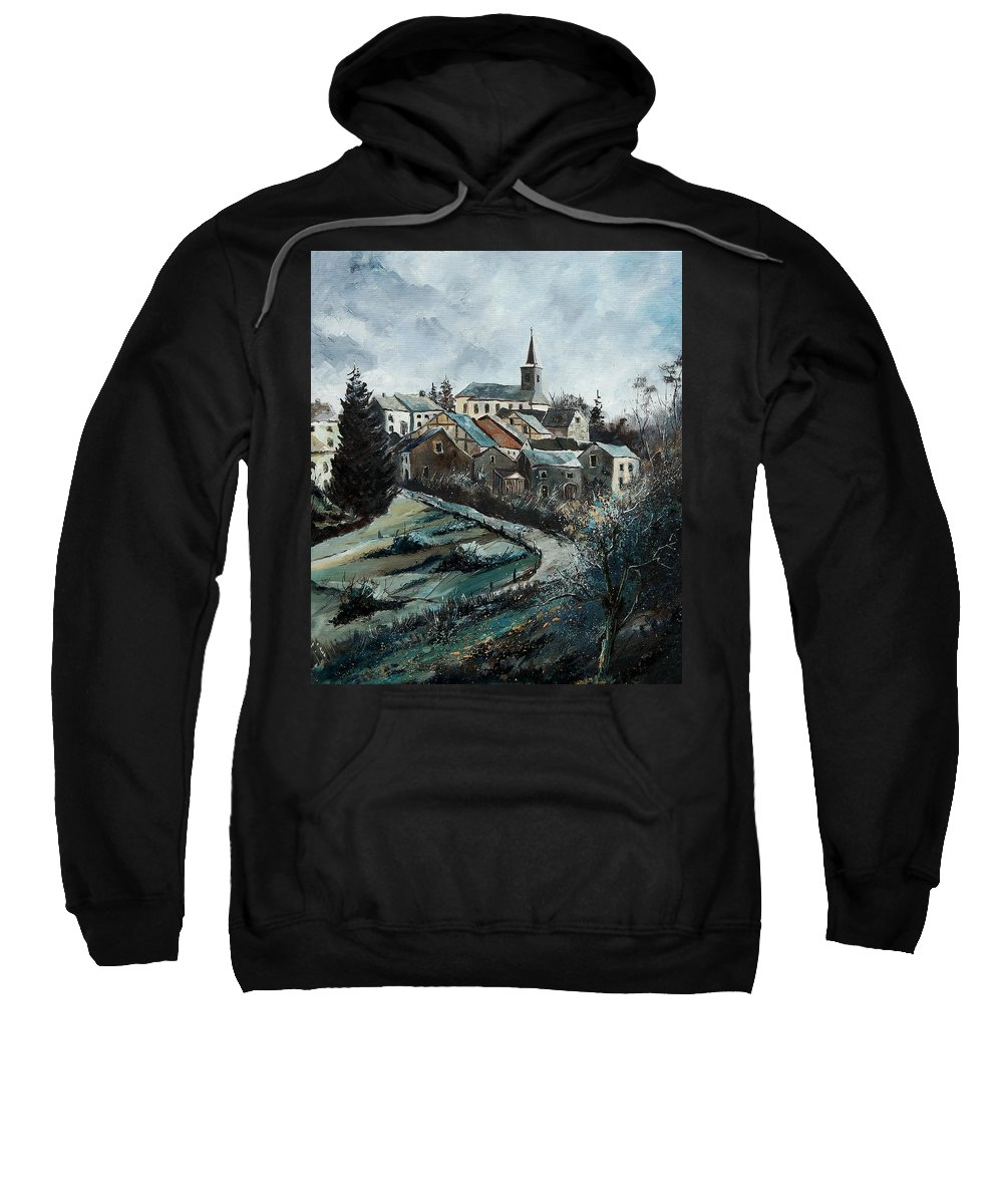 Village Sweatshirt featuring the painting Daverdisse 78 by Pol Ledent