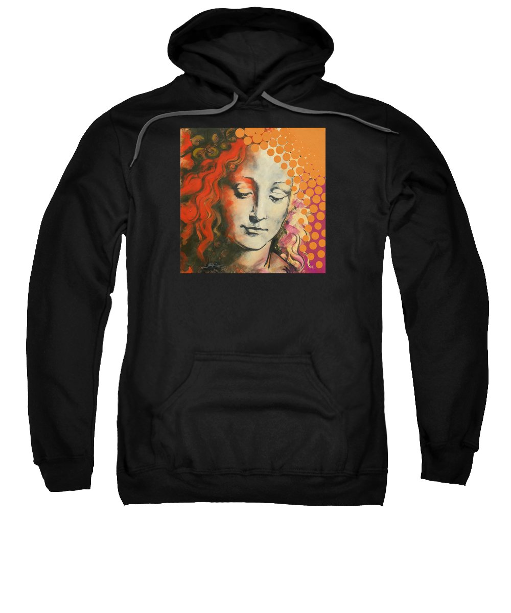 Figurative Sweatshirt featuring the painting Davinci's Head by Jean Pierre Rousselet