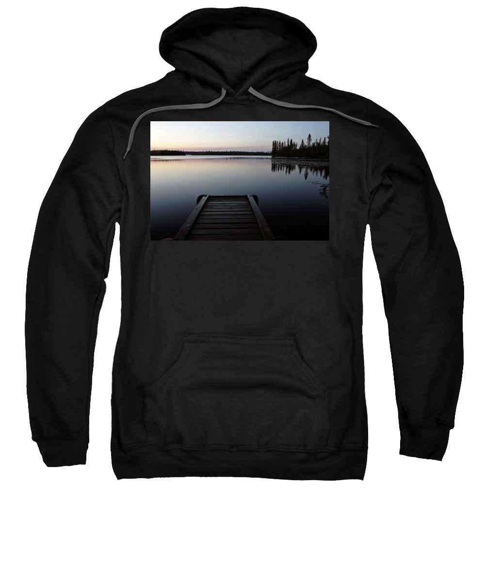 Reflections Sweatshirt featuring the digital art Dawn At Lynx Lake In Northern Saskatchewan by Mark Duffy