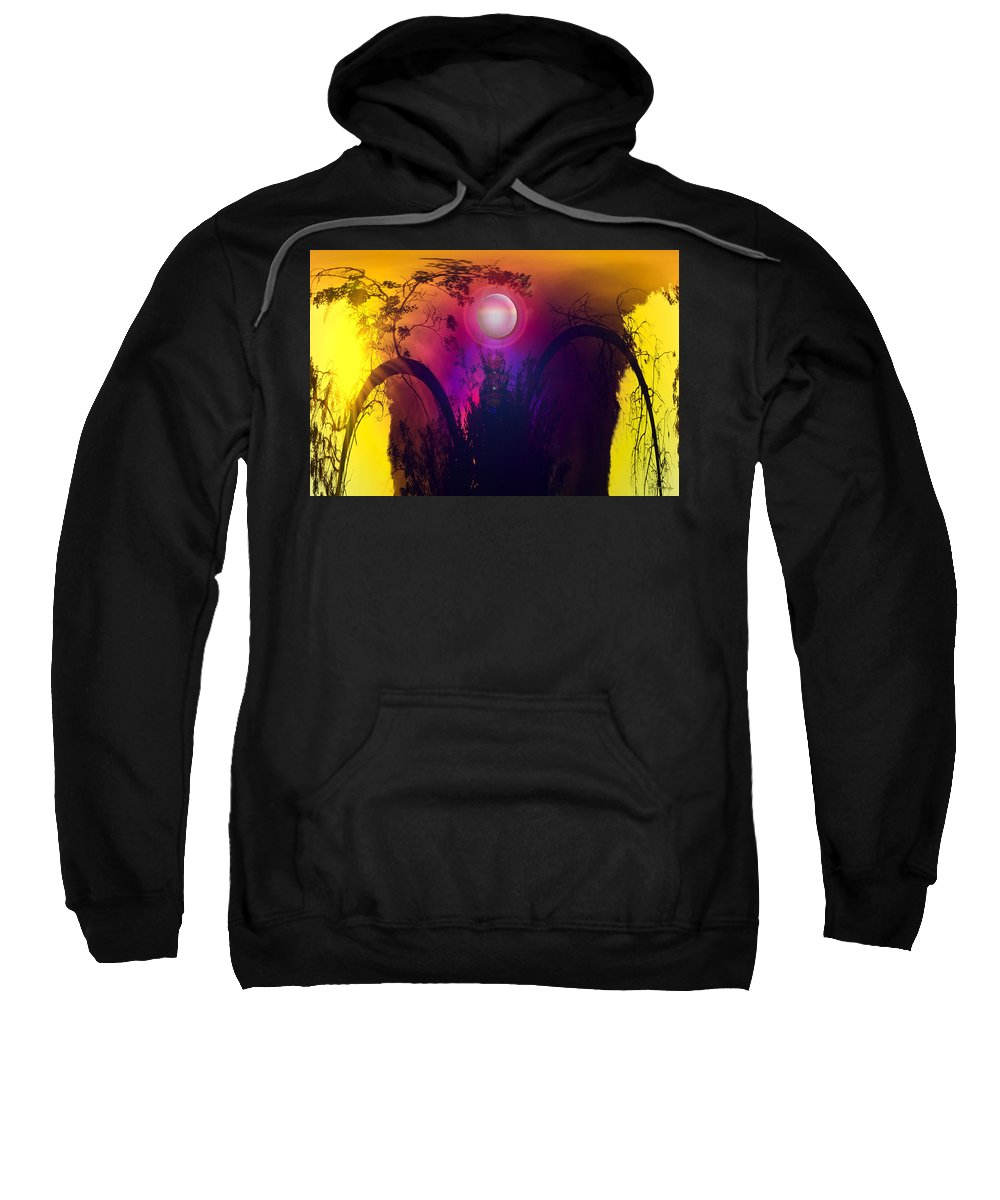 Trees Sky Stars Sun Planet Orb Space Moon Sweatshirt featuring the photograph Dawn In A New Era by Andrea Lawrence