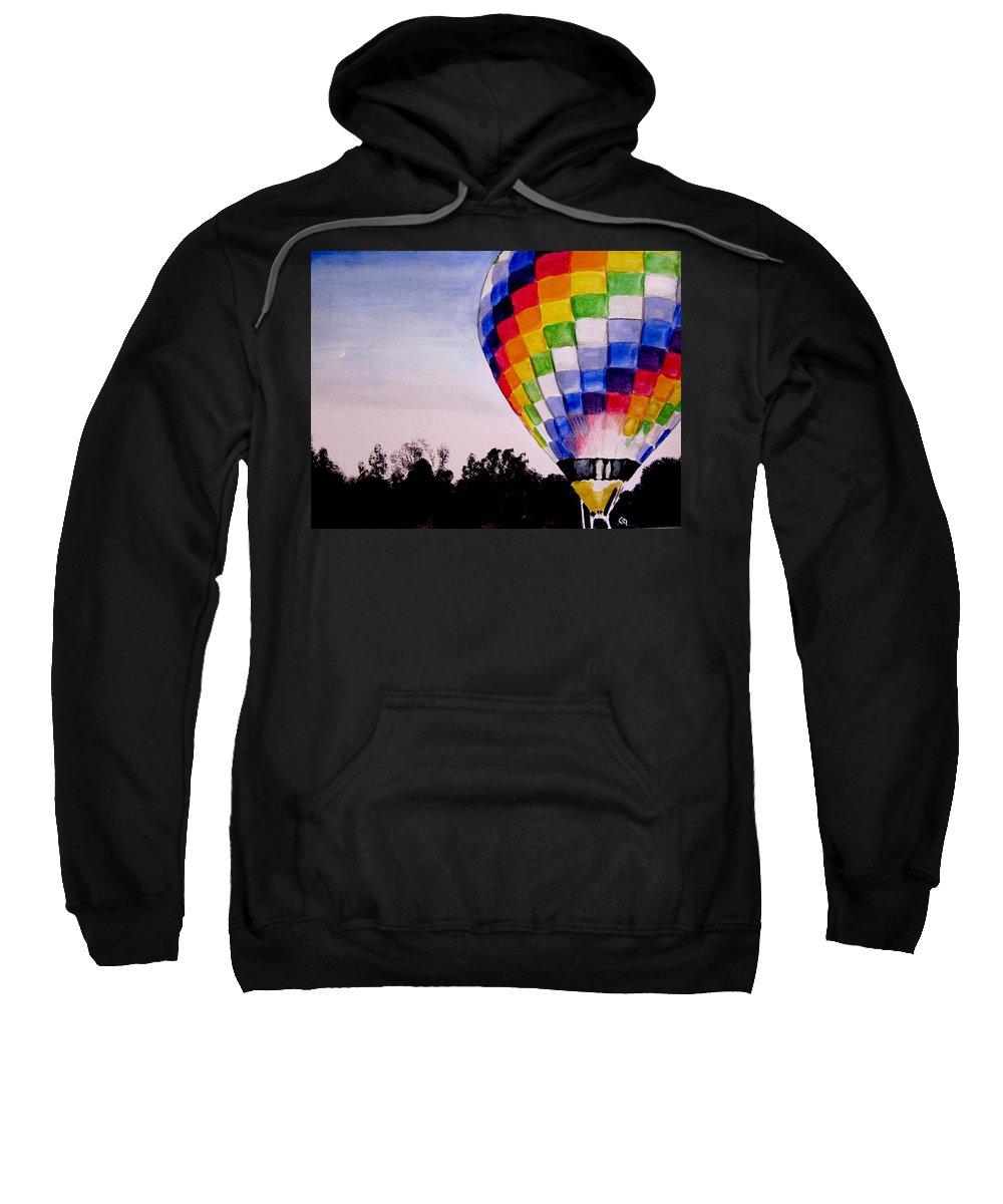 Hot Air Balloon Sweatshirt featuring the painting Dawn Patrol by Carol Blackhurst