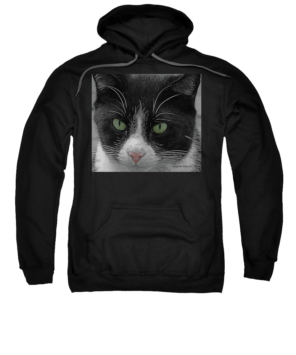 Cat Sweatshirt featuring the digital art Day Dreaming by DigiArt Diaries by Vicky B Fuller