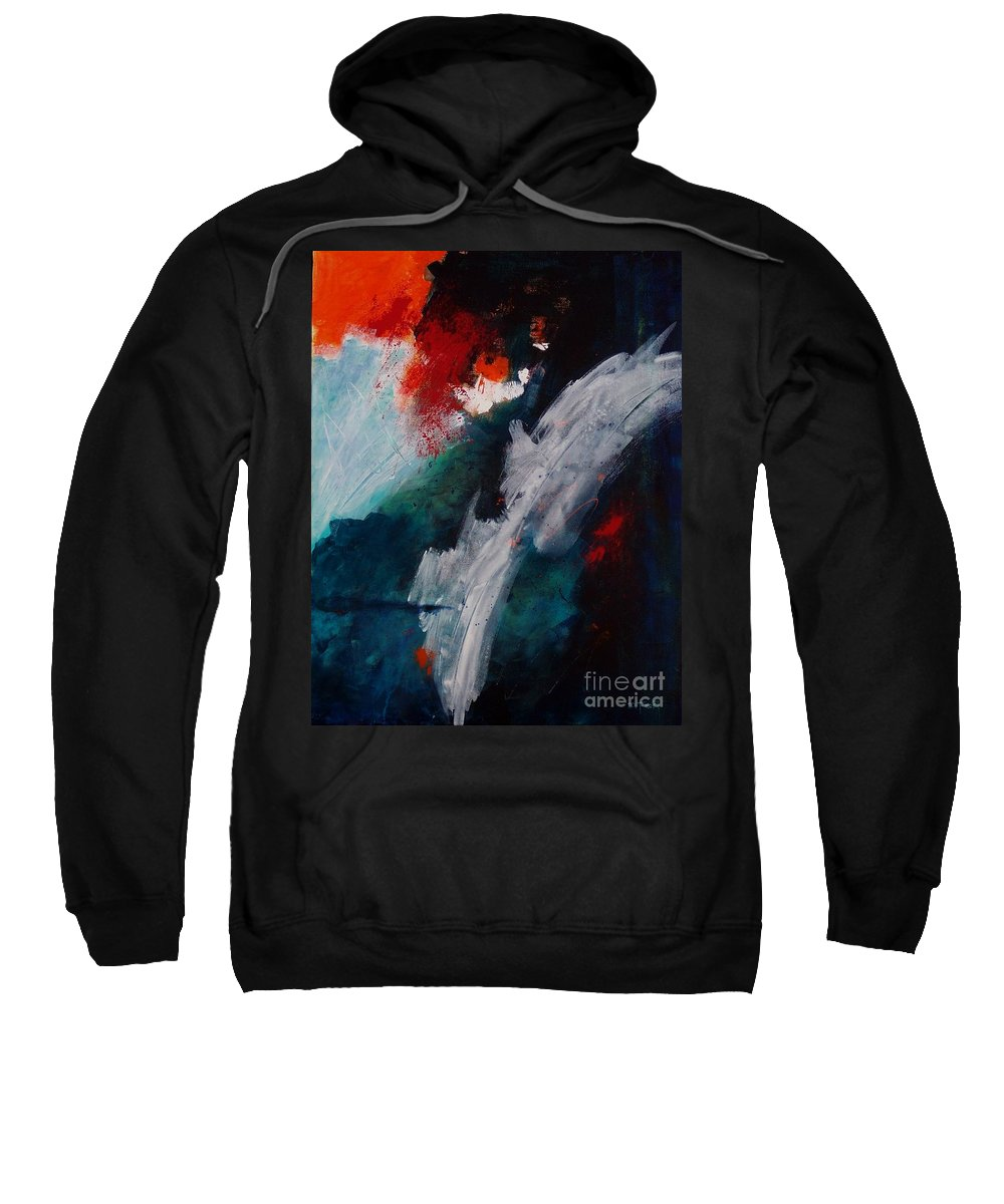 Abstract Sweatshirt featuring the painting Daybreak At The Falls by Donna Frost