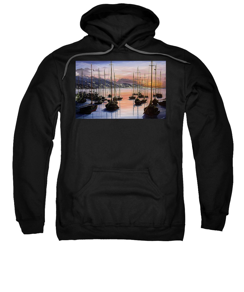 Seascape Painting Yacht Painting Harbour Painting Port Of Spain Trinidad And Tobago Painting Caribbean Painting Tropical Seascape Yachts  Painting Boats Dawn Breaking Greeting Card Painting Sweatshirt featuring the painting Daybreak by Karin Dawn Kelshall- Best