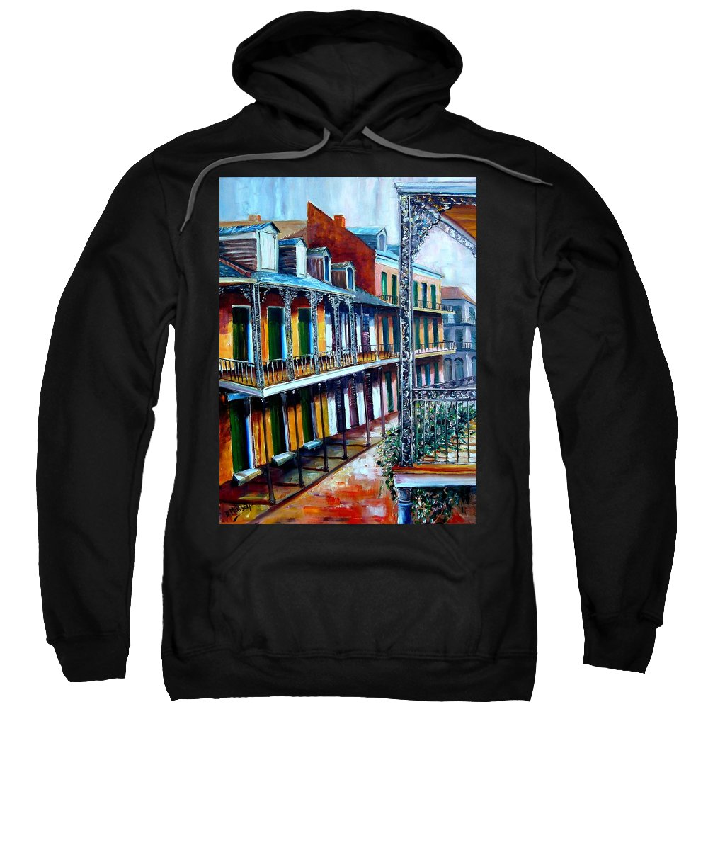 New Orleans Sweatshirt featuring the painting Daybreak On St. Ann Street by Diane Millsap