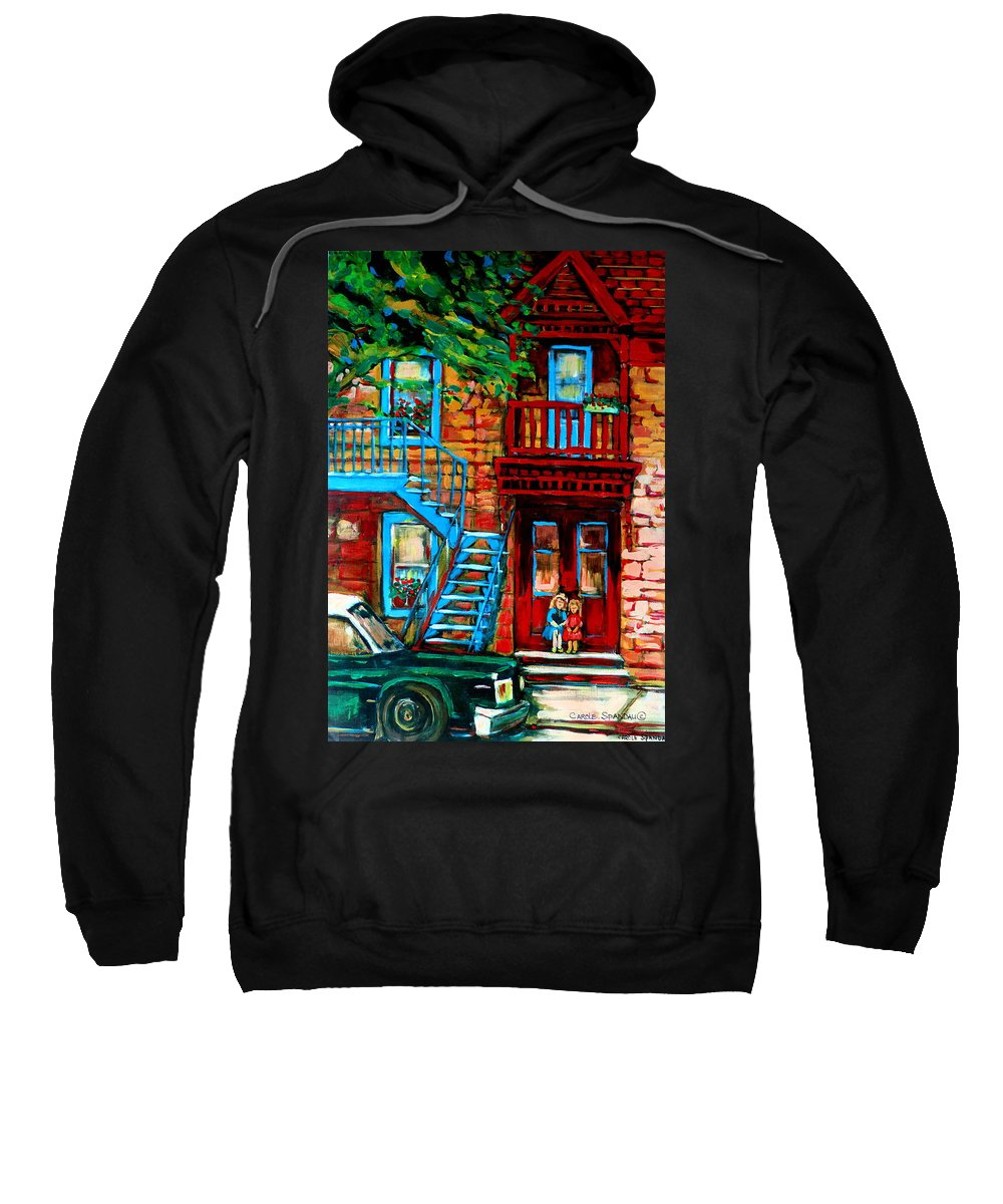 Montreal Streetscenes Sweatshirt featuring the painting Debullion Street Neighbors by Carole Spandau