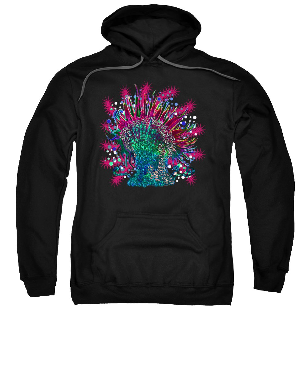 Anemone Sweatshirt featuring the digital art Deco Anemone by Adria Trail