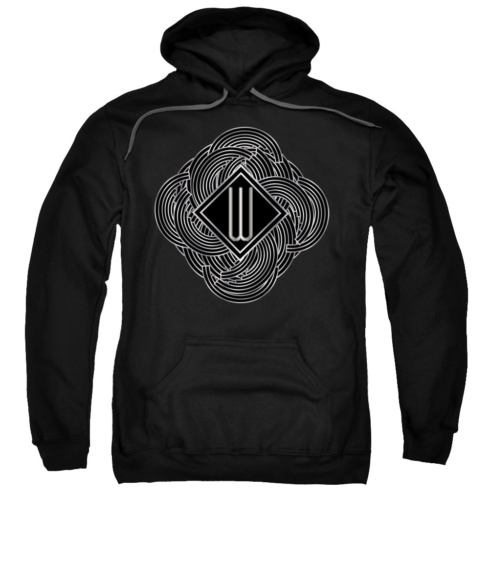 Monogram Sweatshirt featuring the digital art Deco Jazz Swing Monogram ...letter W by Cecely Bloom