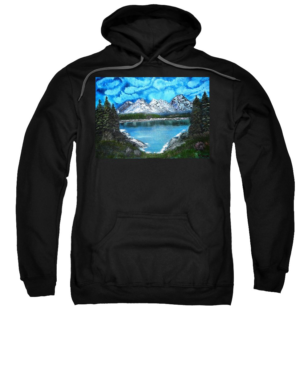 Landscape Sweatshirt featuring the painting Deep Mountain Lake by Valerie Ornstein