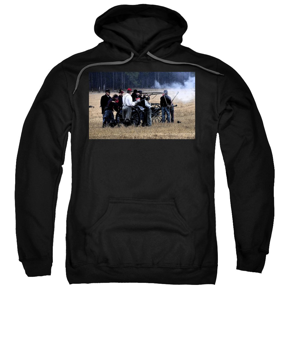 Cannons Sweatshirt featuring the painting Defending The Artillery by David Lee Thompson