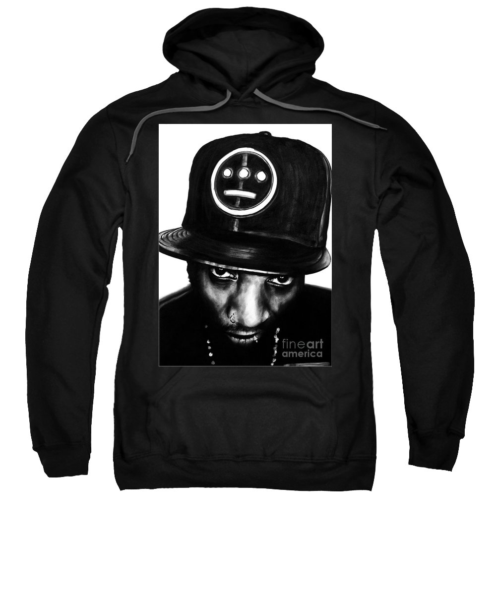 brian Curran Sweatshirt featuring the drawing Del The Funky Homosapien by Brian Curran