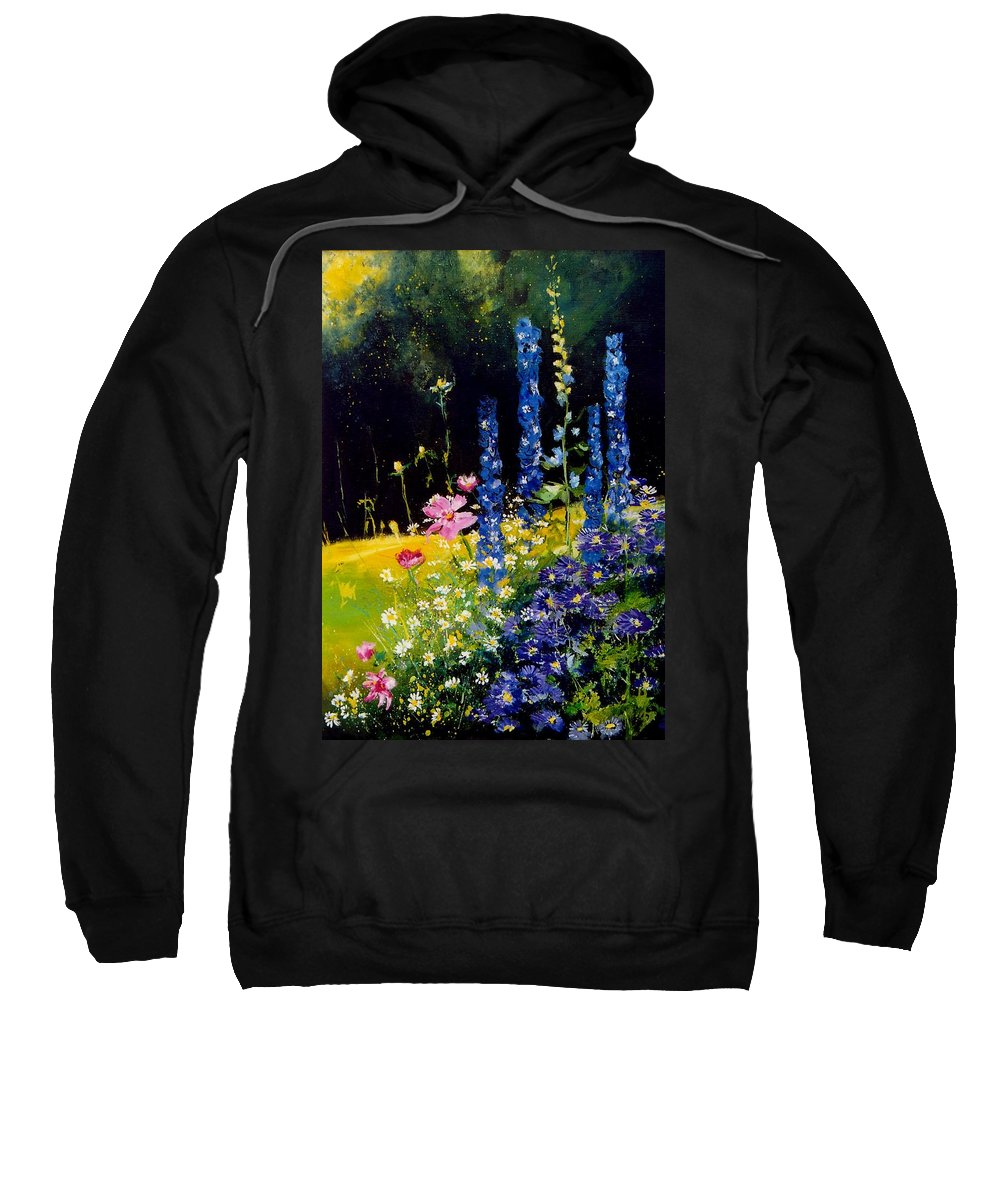 Poppies Sweatshirt featuring the painting Delphiniums by Pol Ledent