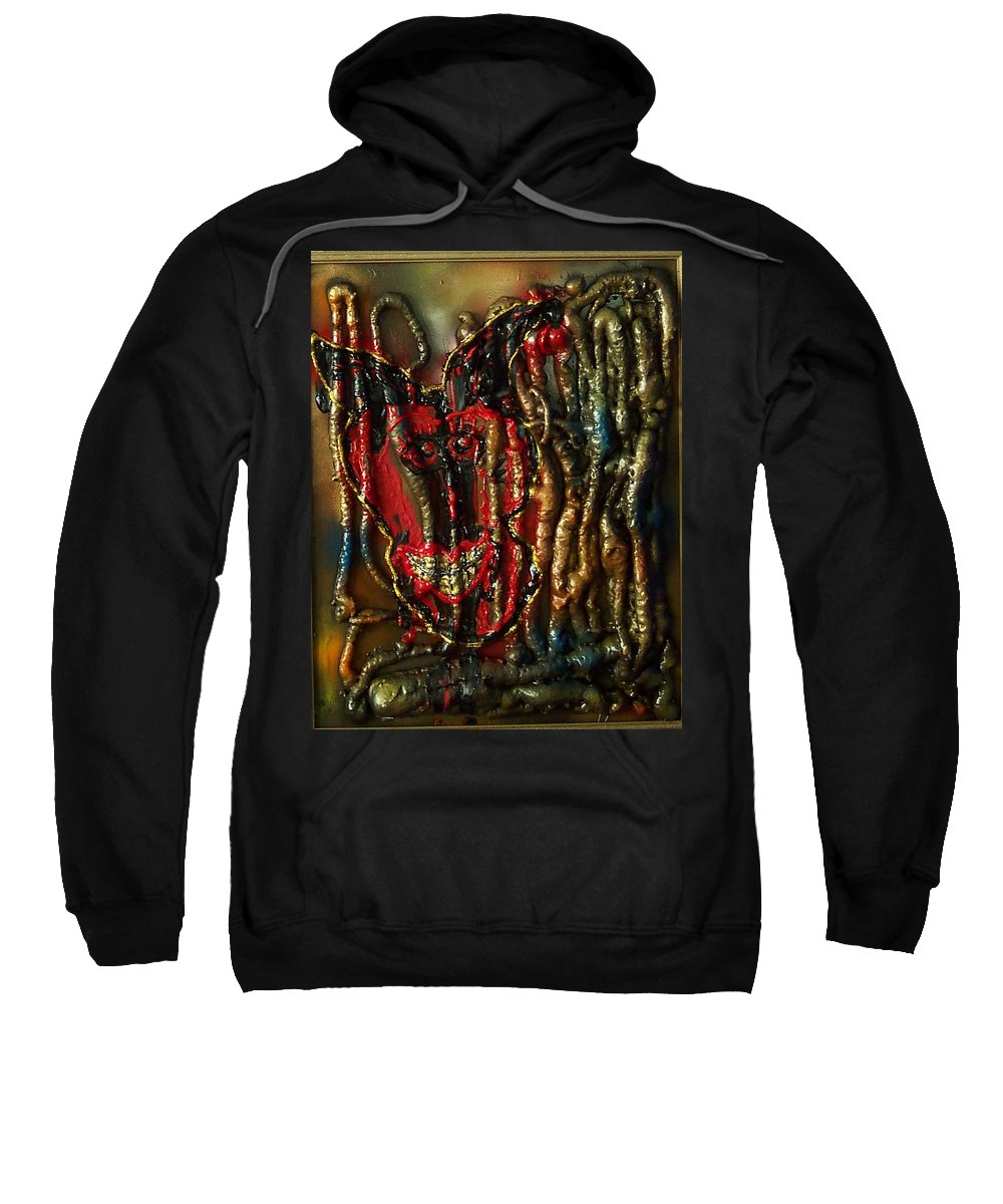 Skull Sweatshirt featuring the painting Demon Inside by Lisa Piper