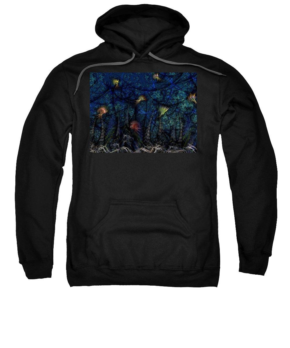 Abstract Sweatshirt featuring the digital art Denizens by Casey Kotas