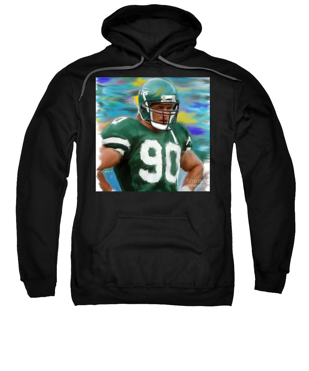 Dennis Byrd Sweatshirt featuring the painting Dennis Byrd by Jack Bunds