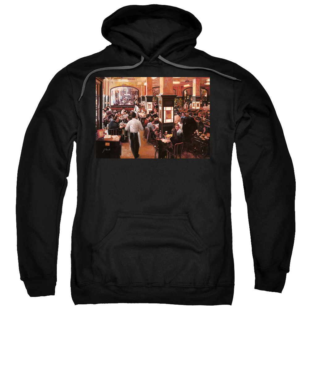 Coffee Shop Sweatshirt featuring the painting Dentro Il Caffe by Guido Borelli