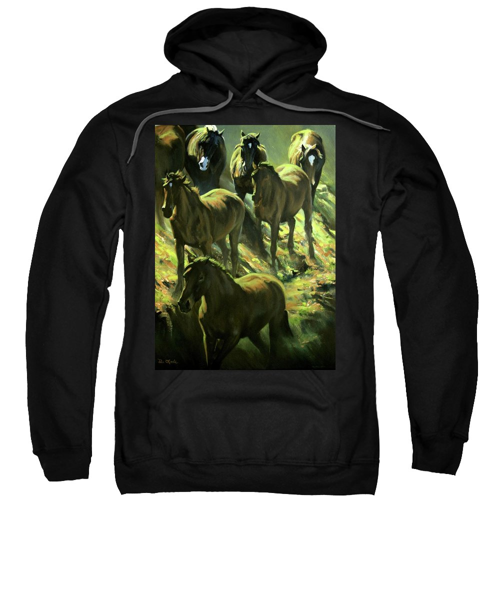 Horses Sweatshirt featuring the painting Descent by Mia DeLode