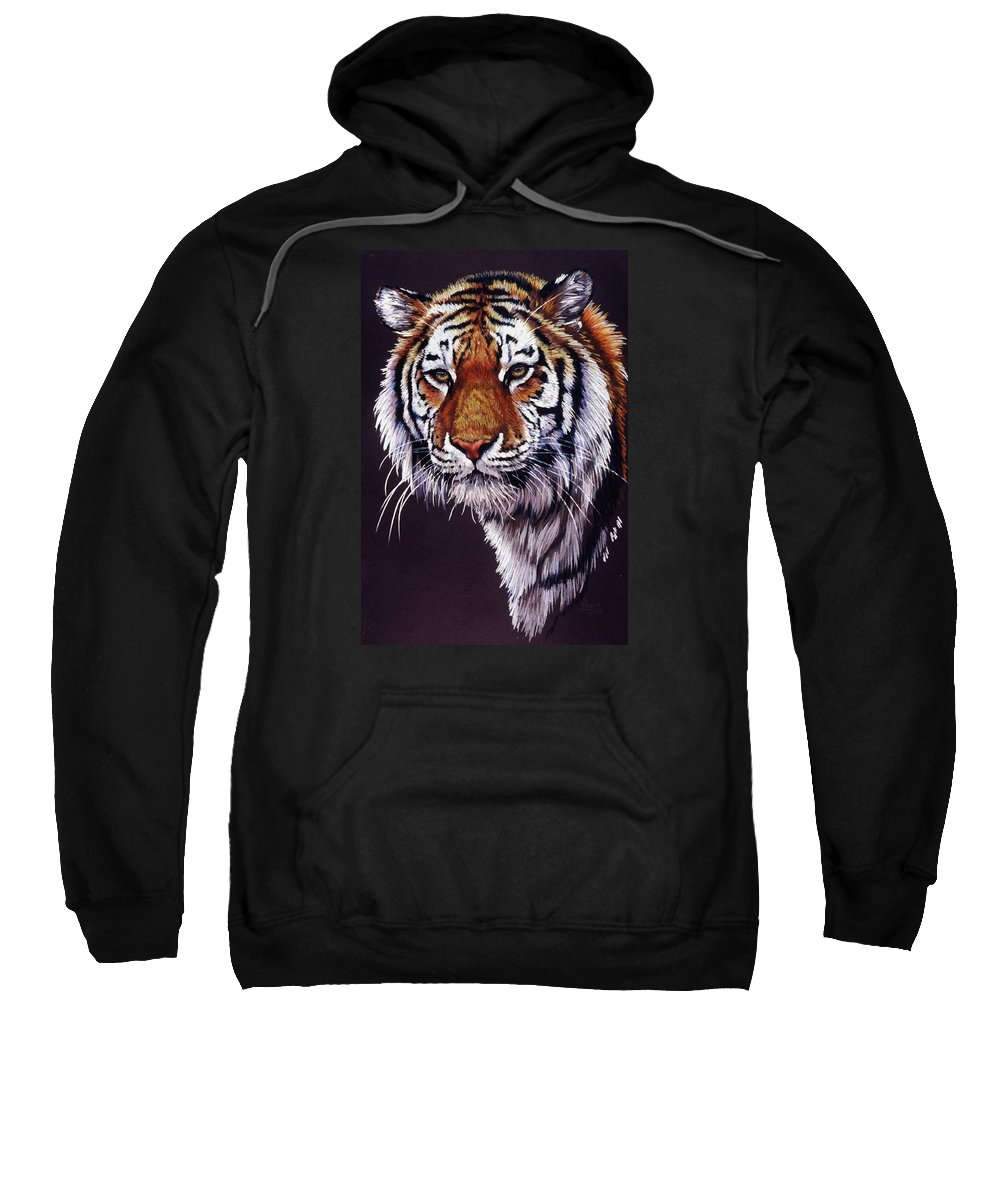 Tiger Sweatshirt featuring the drawing Desperado by Barbara Keith