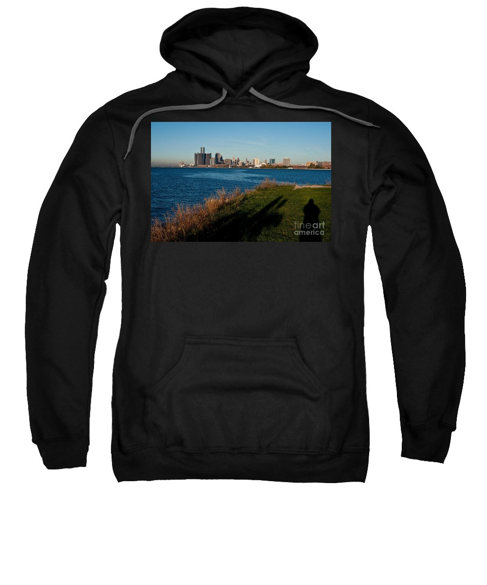 Detroit Sweatshirt featuring the photograph Detroit Skyline And Shadow by Steven Dunn