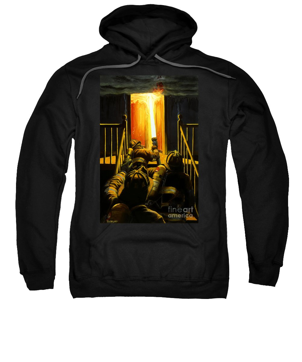 Firefighting Sweatshirt featuring the painting Devil's Stairway by Paul Walsh