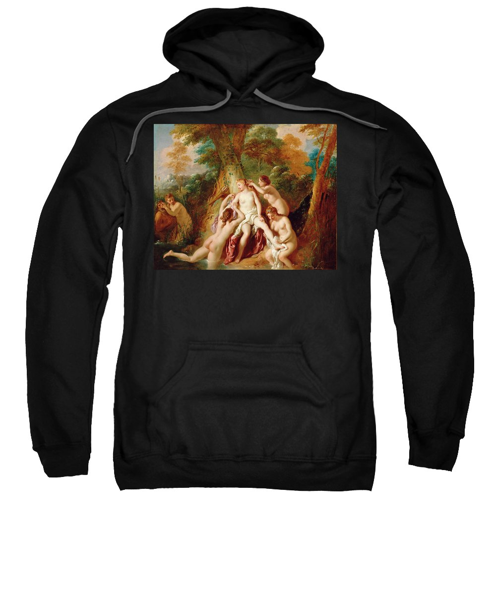 Jean-francois Detroy Sweatshirt featuring the painting Diana And Her Nymphs Bathing by Jean-Francois Detroy