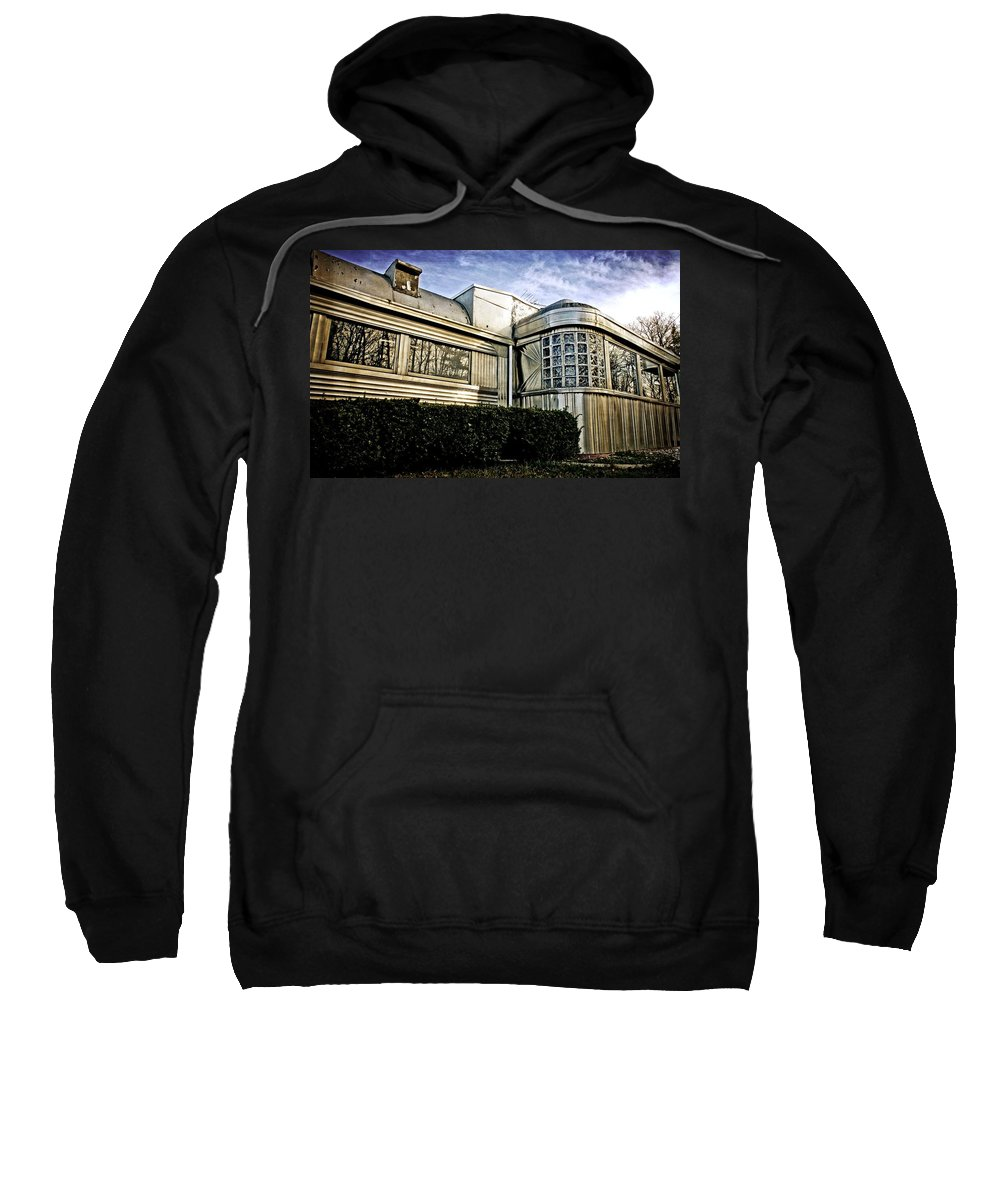 Abandoned Sweatshirt featuring the photograph Diner Reflections by LuAnn Griffin