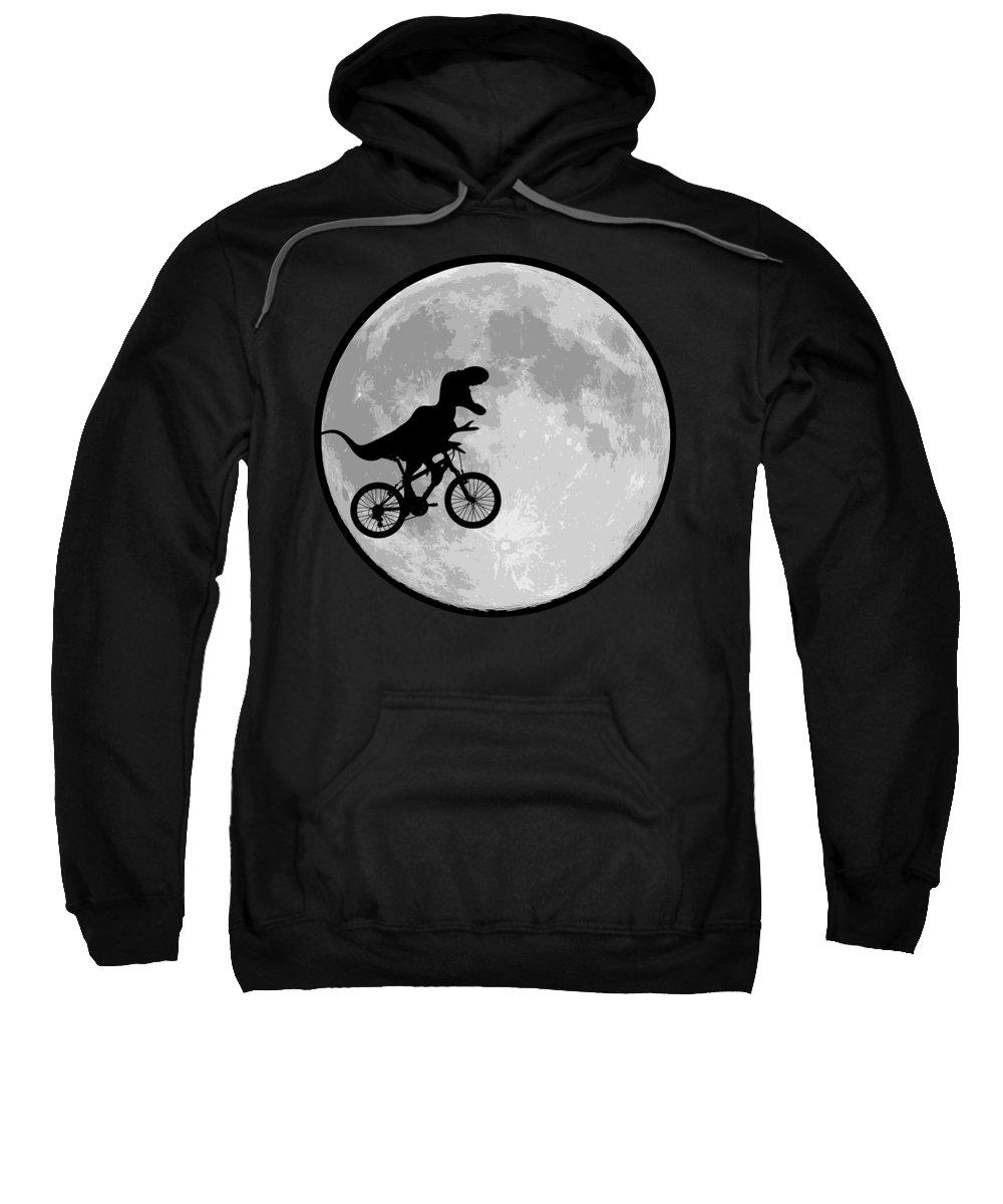 Dinosaur Bike And Moon Sweatshirt featuring the digital art Dinosaur Bike And Moon by BubbSnugg LC