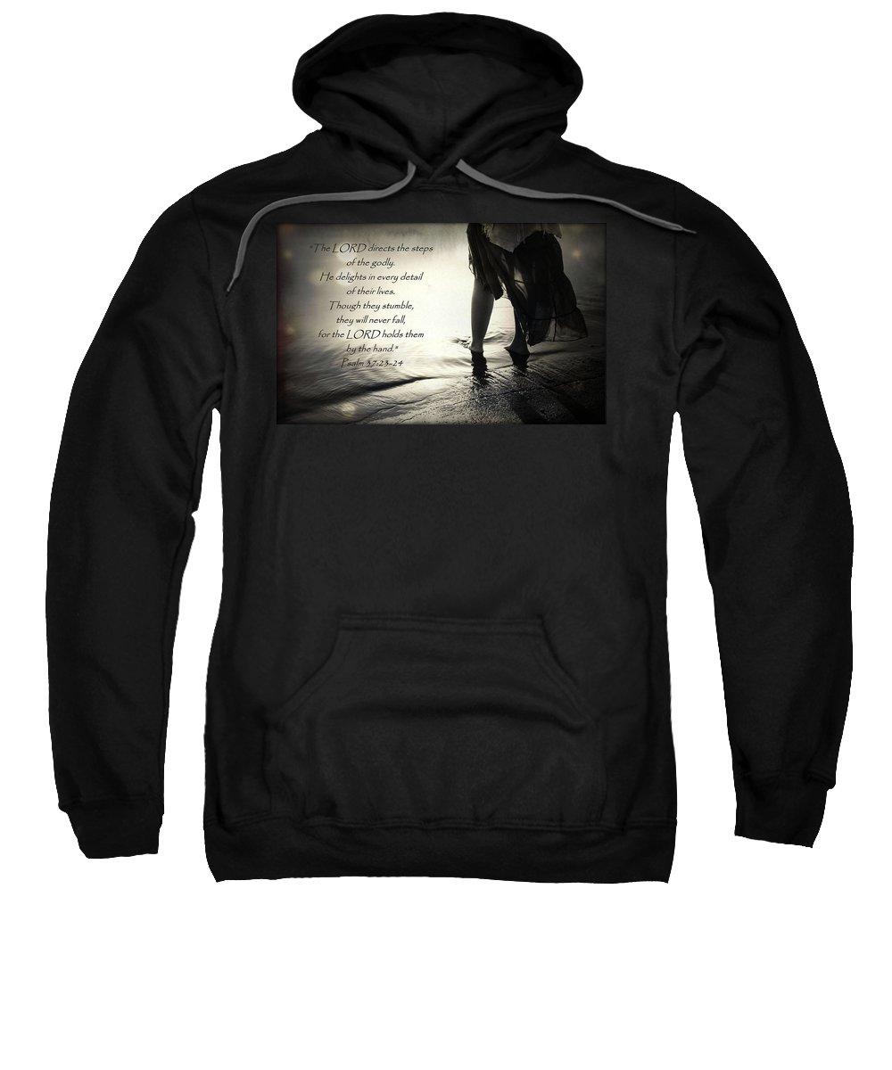 Scripture Sweatshirt featuring the digital art Directed Steps by Hannah Breidenbach