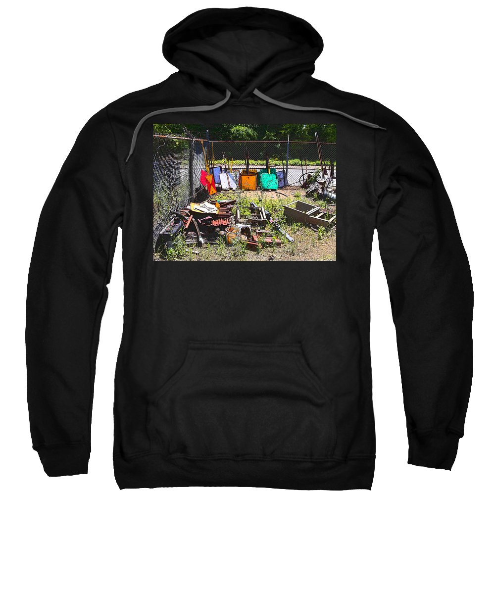 Train Sweatshirt featuring the photograph Discarded Signs At The Train Station by Anne Cameron Cutri