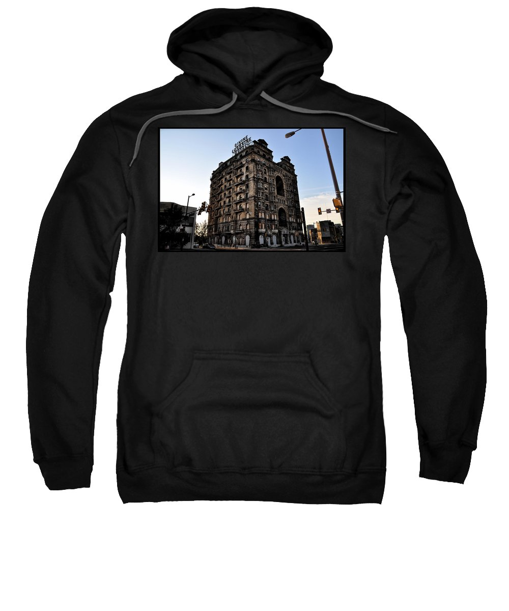 Ruins Sweatshirt featuring the photograph Divine Lorraine Hotel by Bill Cannon