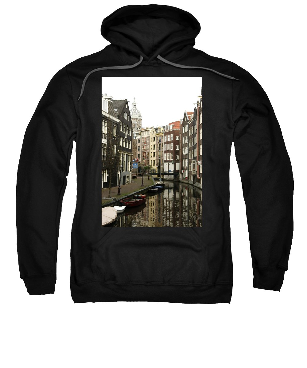 Landscape Amsterdam Red Light District Sweatshirt featuring the photograph Dnrh1101 by Henry Butz