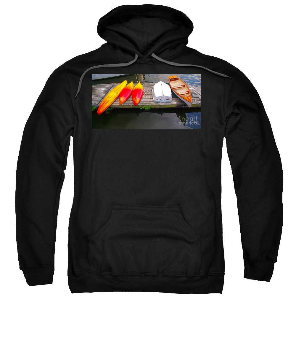Potomac River Sweatshirt featuring the photograph Dock And Boats by Rich Walter