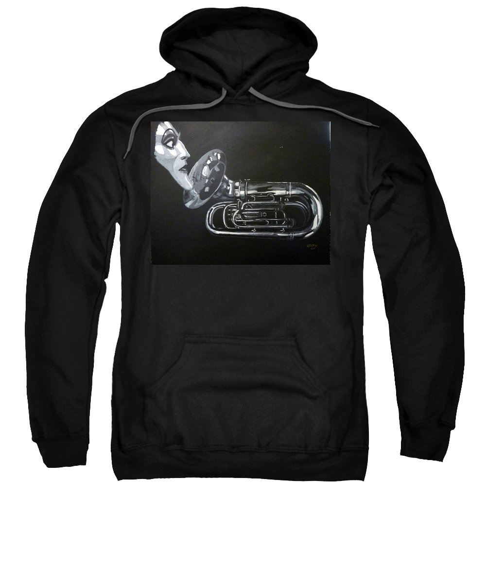 Tuba Sweatshirt featuring the painting Don't You Dare Play That by Richard Le Page